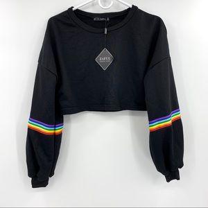 NWT Zaful Rainbow Striped Patched Crop Sweatshirt